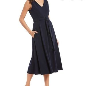 Calvin Klein 8 navy stretch crepe midi dress